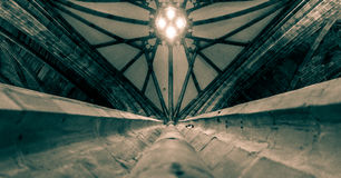 Looking up along a Pillar towards the Ceiling of Worcester Cathe Royalty Free Stock Photography