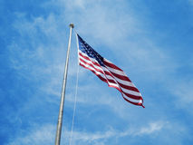 Looking up at American Flag Stock Image