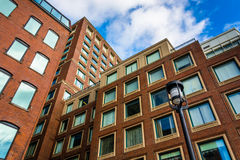 Looking up at apartment buildings in Boston, Massachusetts. Stock Photo