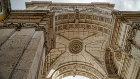 Looking up at Arc Augusta, Arc de Triomphe, Lisbon, Portugal. Lisbon is continental Europe`s westernmost capital city and the onl. Looking up at Arc Augusta, Arc Royalty Free Stock Image