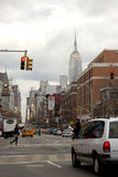 Looking up Avenue of the Americas from Greenwich Village, Empire State Building in distance, Royalty Free Stock Photo