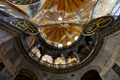 Looking up in Aya Sofya. A section of the balcony and ceiling in the byzantine church of aya sofya (hagia sofia), istanbul, turkey royalty free stock images