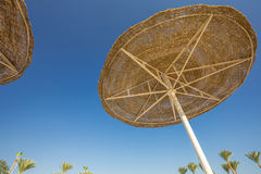 Looking up at big beach umbrellas against the blue sky. Royalty Free Stock Images