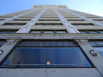 Looking up at the big beautiful view of Smith Tower building stock photos