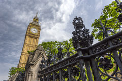 Looking up at Big Ben from Bridge Street Royalty Free Stock Images