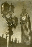 Looking up at Big Ben. Vintage Antigue Picture of Big Ben/the Houses of Parliament in London Royalty Free Stock Images
