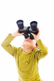 Looking up with binoculars royalty free stock photography