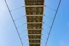 Looking up the Bitan Suspension Bridge. At Taipei, Taiwan stock image