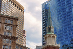 Looking up at Boston`s historical and newer architectural structures royalty free stock images