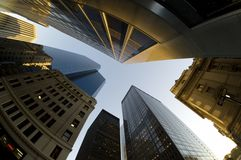 Looking up at buildings Stock Photography