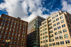 Looking up at buildings in Boston, Massachusetts. Stock Photos