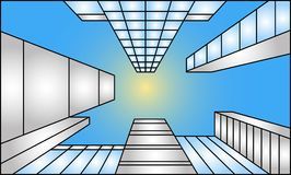 Looking up at buildings illustration in one-point perspective royalty free stock image