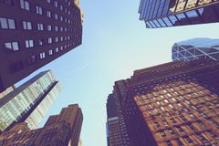 Looking up at buildings in Manhattan Royalty Free Stock Images