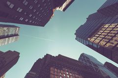 Looking up at buildings in Manhattan Stock Images