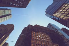 Looking up at buildings in Manhattan Stock Photos