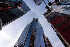 Looking up at buildings in New York City, twillight Royalty Free Stock Photography