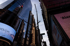 Looking up at buildings in New York City, twillight Royalty Free Stock Photo