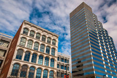 Looking up at buildings on Pratt Street in Baltimore, Maryland. Royalty Free Stock Images