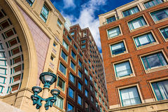 Looking up at buildings in Rowes Wharf, in Boston, Massachusetts.  Royalty Free Stock Photography