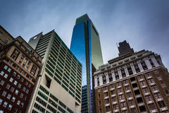 Looking up at buildings under a cloudy sky in Philadelphia, Penn Stock Image
