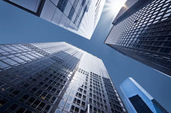 Looking up at business buildings. In downtown New York, USA Stock Photos
