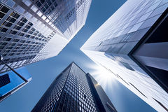 Looking up at business buildings. In downtown New York, USA Royalty Free Stock Image