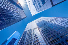 Looking up at business buildings in downtown New York USA. Looking up at business buildings in downtown New York, USA Stock Photo