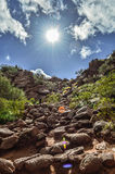 Looking up Camelback Mountain in Arizona. Looking up Mount Camelback in Arizona to a beautiful blue and sunny sky Royalty Free Stock Image