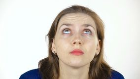Looking up caucasian woman stock footage