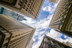 Looking up at Chicago's vintage building in financial districtbu Royalty Free Stock Image