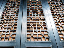Looking up at chinese triditional door with pattern Royalty Free Stock Images