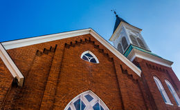 Looking up at a church in Abbottstown,  Pennsylvania. Stock Photography
