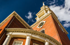 Looking up at a church in Boston, Massachusetts. Royalty Free Stock Image