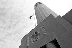 Looking up at Coit  Tower in San Francisco - CA Stock Photo