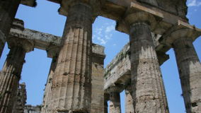 Looking up Collumns Ancient Greek Temple stock footage