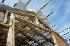 Looking Up At Dormer Timbers. Looking Up At Dormer showing construction Timbers Stock Photos
