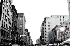 Looking up downtown. Classic black and white skyline in downtown los angeles Stock Photos