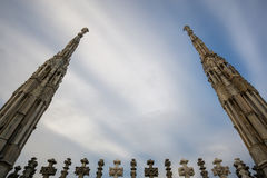 Looking up the Duomo spires Stock Photography