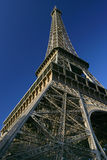 Looking up at the Eiffel Tower again. View of the Eiffel Tower from the ground royalty free stock photos
