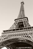 Looking up on Eiffel Tower, the most popular landmark of Paris. France. Monochrome vertical photo stock photography