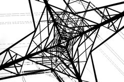 Looking Up Through Electricity Pylon Royalty Free Stock Image