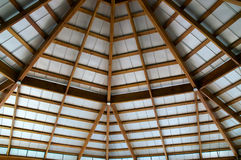 Looking up at exposed beam roof Royalty Free Stock Image