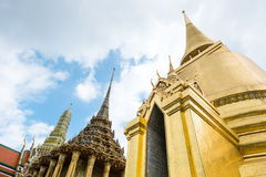 Looking up at gold pagoda Temple of the Emerald Buddha,Grand pal Royalty Free Stock Images