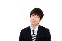 Looking up good face business man. Royalty Free Stock Photography