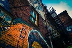 Looking up at graffiti and old staircases in Graffiti Alley, Bal Royalty Free Stock Photos