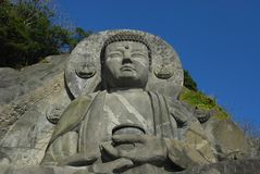 Looking up at the Great Buddha and sky Stock Photo
