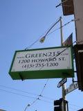Looking up at Green 215 sign Royalty Free Stock Photo