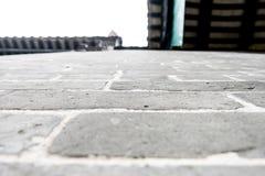 Looking up at grey brick wall ,texture background Royalty Free Stock Photo