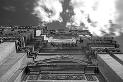 Looking up a High Building. Standing up right beneath the Church of St. Helena in Birkirkara, Malta Stock Photos