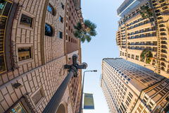 Looking up on high classical style towers in Downtown Los Angele. S Financial District, California, USA Stock Photos